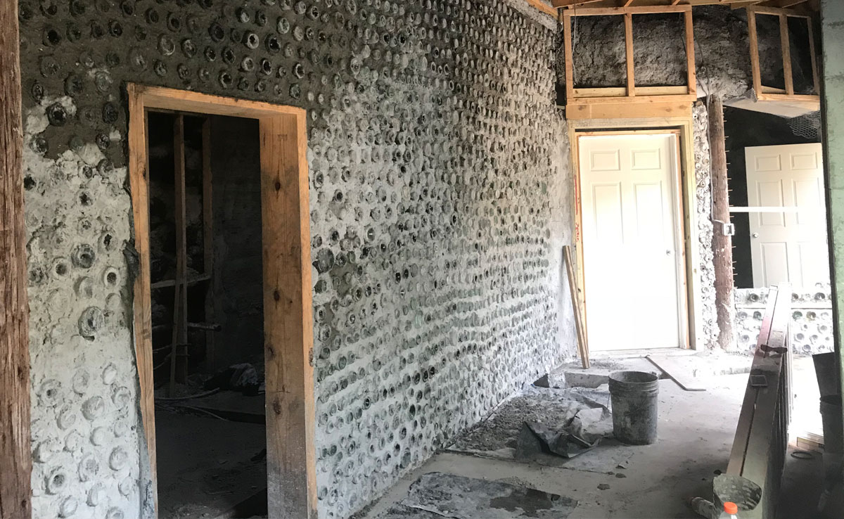 florida earthship bottle wall construction